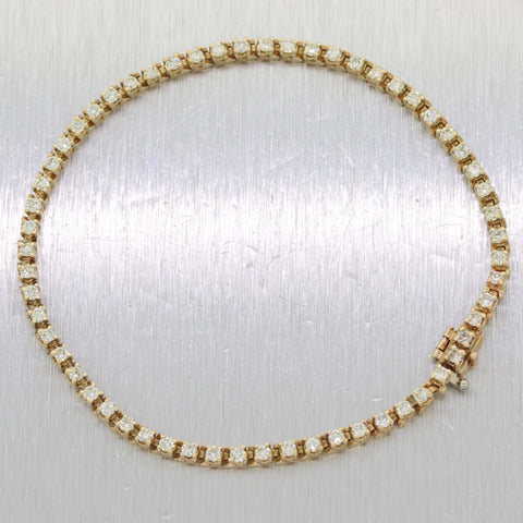 Vintage Estate 14K Yellow Gold 2.36ctw Diamond Tennis Bracelet