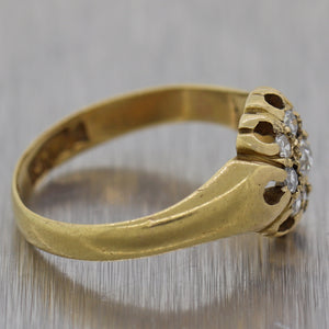 1890 Victorian 18k Yellow Gold English Hallmarks 0.25ctw Diamond Cluster Ring