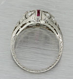 1920s Antique Art Deco Platinum .59ctw Old Cut Diamond Ruby Engagement Ring EGL