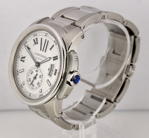 2012 Men's Cartier Calibre W7100015 Silver Roman 42mm Stainless Date Watch 3299