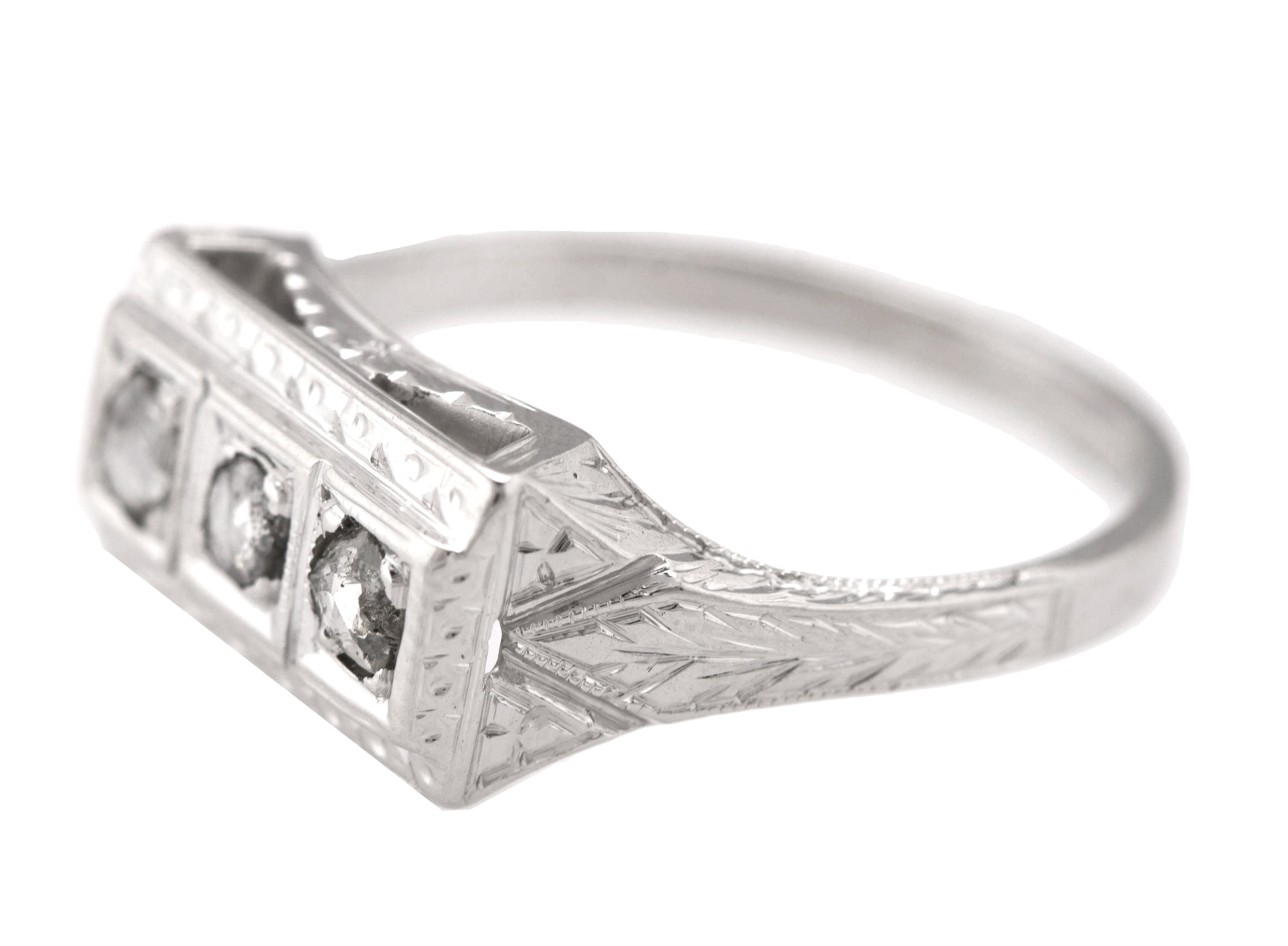 Antique Victorian 18K White Gold 0.21ctw Rose Cut Diamond Etched Ring