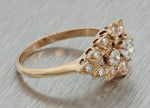 1930s Antique Art Deco 10k Solid Rose Gold .31ct Diamond Cluster Ring EGL