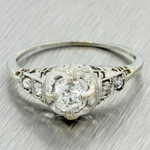 1930s Antique Art Deco 14k Solid Gold .87ctw Old Cut Diamond Engagement Ring EGL