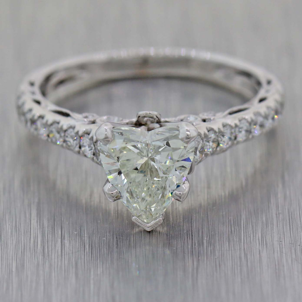 Heart Shaped Vintage Estate 18K White Gold 1.74ctw Diamond Engagement Ring