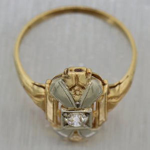 1930's Antique Art Deco 14k Yellow & White Gold 0.15ct Diamond Ring