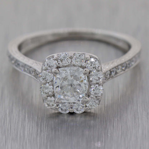 Modern 14K White Gold 2.05ctw Cushion Cut Diamond Halo Engagement Ring