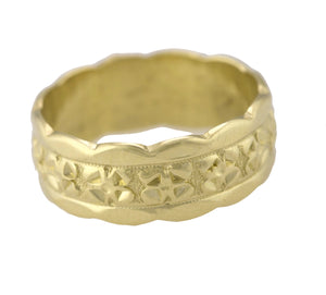 Lovely Ladies 14K Yellow Gold 7mm Milgrain Flower Floral Eternity Band Ring