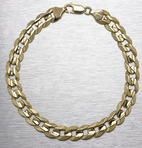 "Men's 14K Yellow Gold 9mm Wide Curb Chain Link 9.00"" Bracelet 22.1gr"