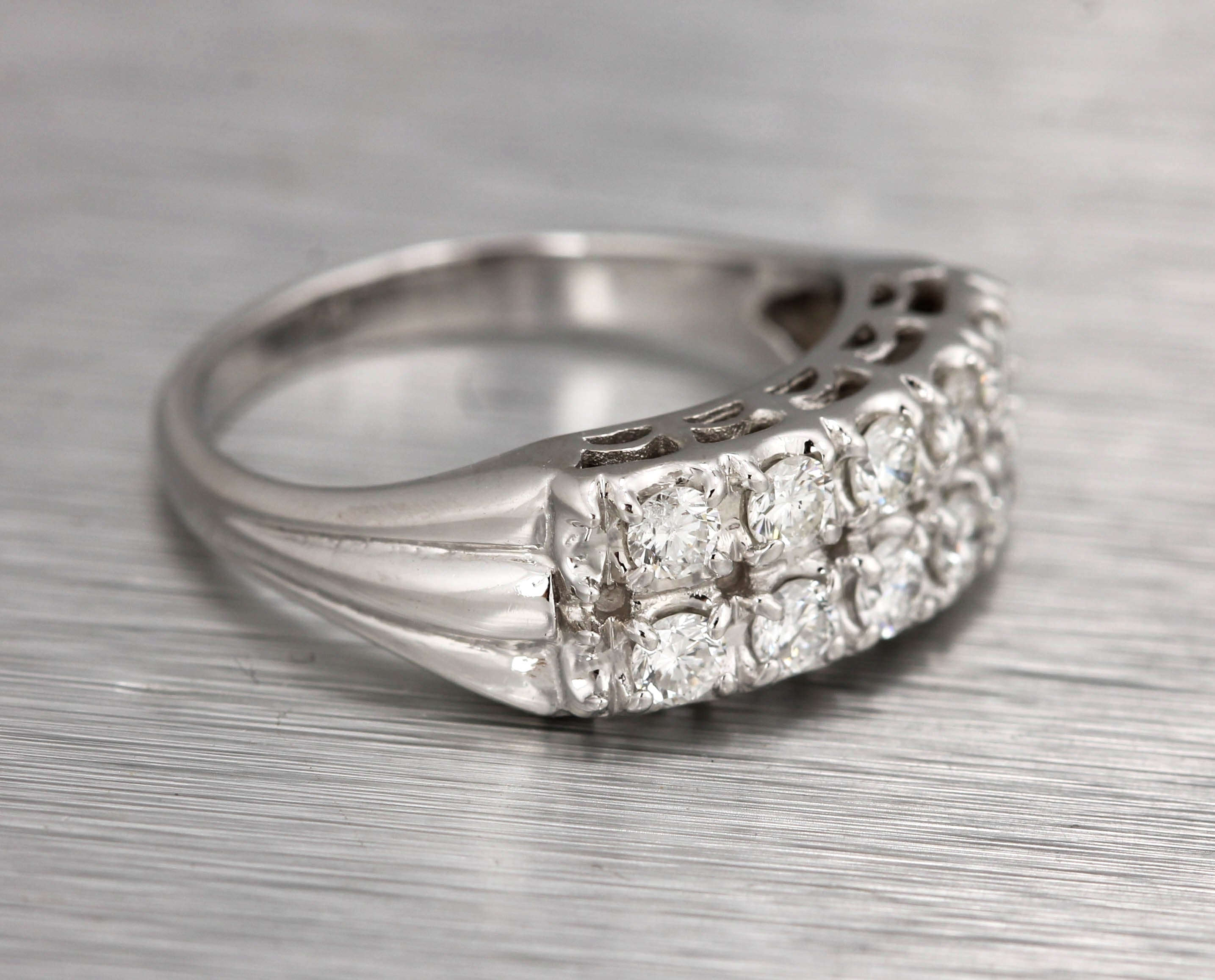 Lovely Ladies Estate 14K White Gold 0.70ctw Pave Diamond Double Row Ring