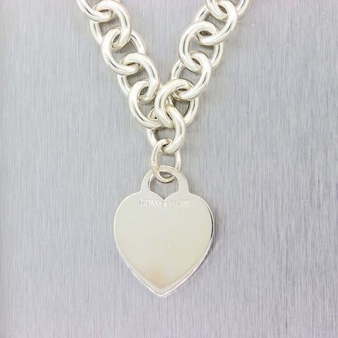 "Tiffany & Co. Sterling Silver Heart Tag 15.5"" Necklace"