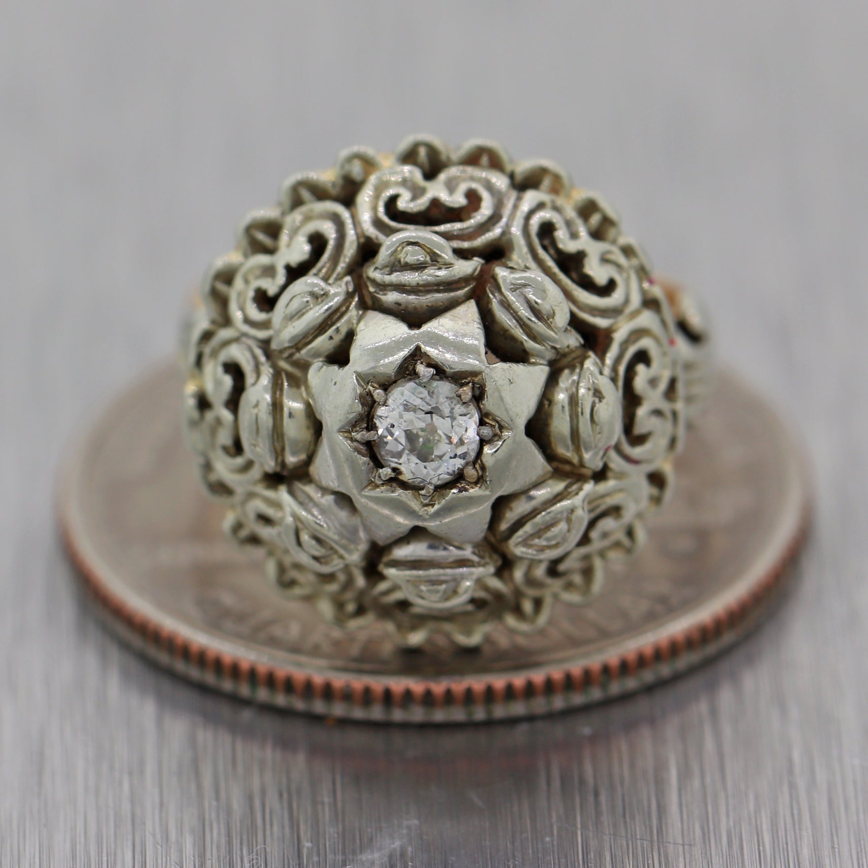 1890's Antique Victorian 18k Yellow & White Gold 0.15ctw Diamond Dome Ring