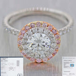 Modern 18K White Gold 1.63ctw Round Brilliant Cut Diamond Halo Engagement Ring