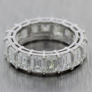Modern Platinum 9ctw Emerald Cut Diamond Eternity Wedding Band Ring