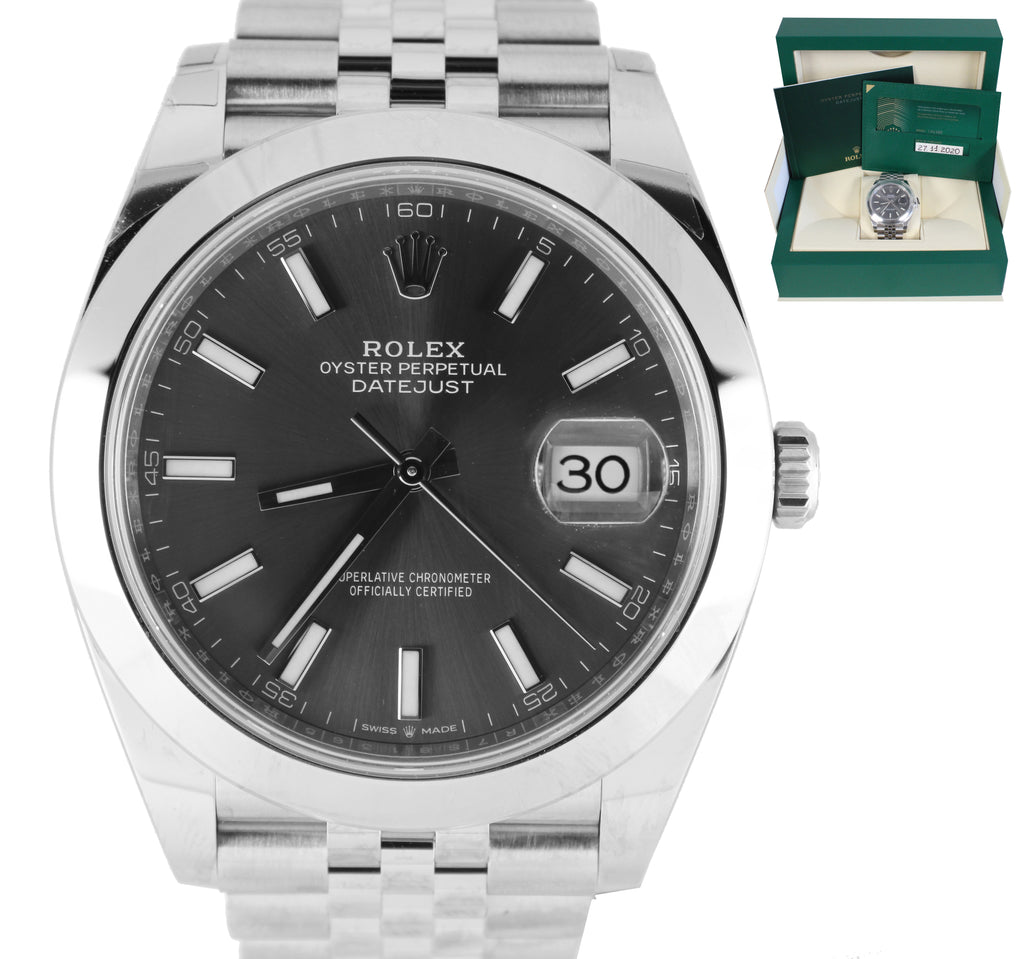 2020 NEW Rolex DateJust 126300 41mm Slate Stick Dial Stainless Steel Jubilee Watch