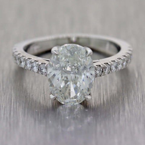 Oval 3.02ct G VS2 GIA Diamond Platinum 3.22ctw Engagement Ring