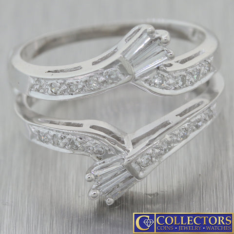 1930s Antique Art Deco 14k White Gold Diamond Insert Engagement Ring Guard C8