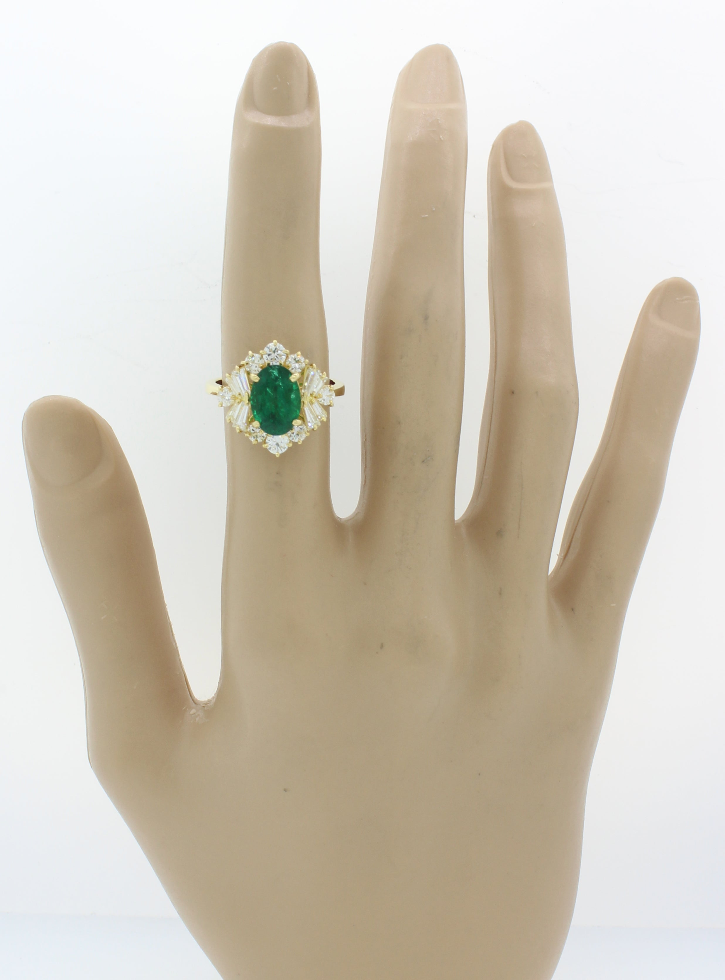 Vtg Estate 18k Yellow Gold 3.47ctw Emerald Diamond Engagement Ring EGL $11540