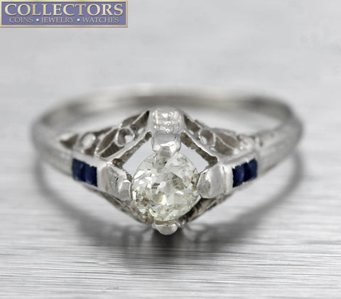Antique Art Deco 18K White Gold 0.50ct Diamond Sapphire Filigree Engagement Ring