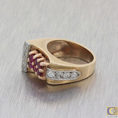 1930s Antique Art Deco Estate 14k Rose Gold .40ct Diamond Ruby Cocktail Ring A8