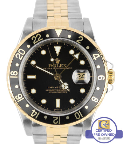 2001 Rolex GMT-Master II 16713 Two-Tone Stainless Jubilee Black Date 40mm Watch