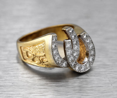 Men's Vintage Estate 14K Yellow Gold 0.92ctw Diamond Horse Shoe Lucky Ring