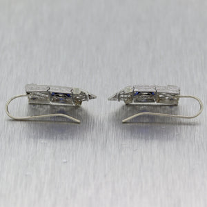1920's Antique Art Deco Platinum 1.20ctw Diamond & Sapphire Drop Earrings