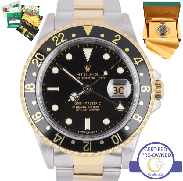 2018 SERVICED Rolex GMT-Master II 16713 Two-Tone Stainless Black Date 40mm Watch