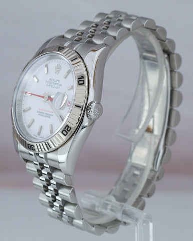 MINT Rolex DateJust 116264 Turn-O-Graph 36mm Thunderbird White Jubilee Watch