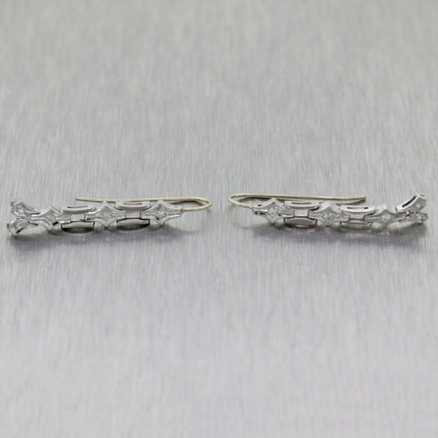 1930's Antique Art Deco Platinum 0.10ctw Diamond Dangle Drop Earrings
