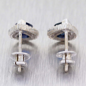Pear Shaped 14K White Gold 1ctw Sapphire .25ctw Diamond Halo Stud Earrings C9