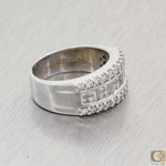 Vintage Estate 14k White Gold 1.50ct 3 Row Diamond 9mm Wide Wedding Band Ring A8
