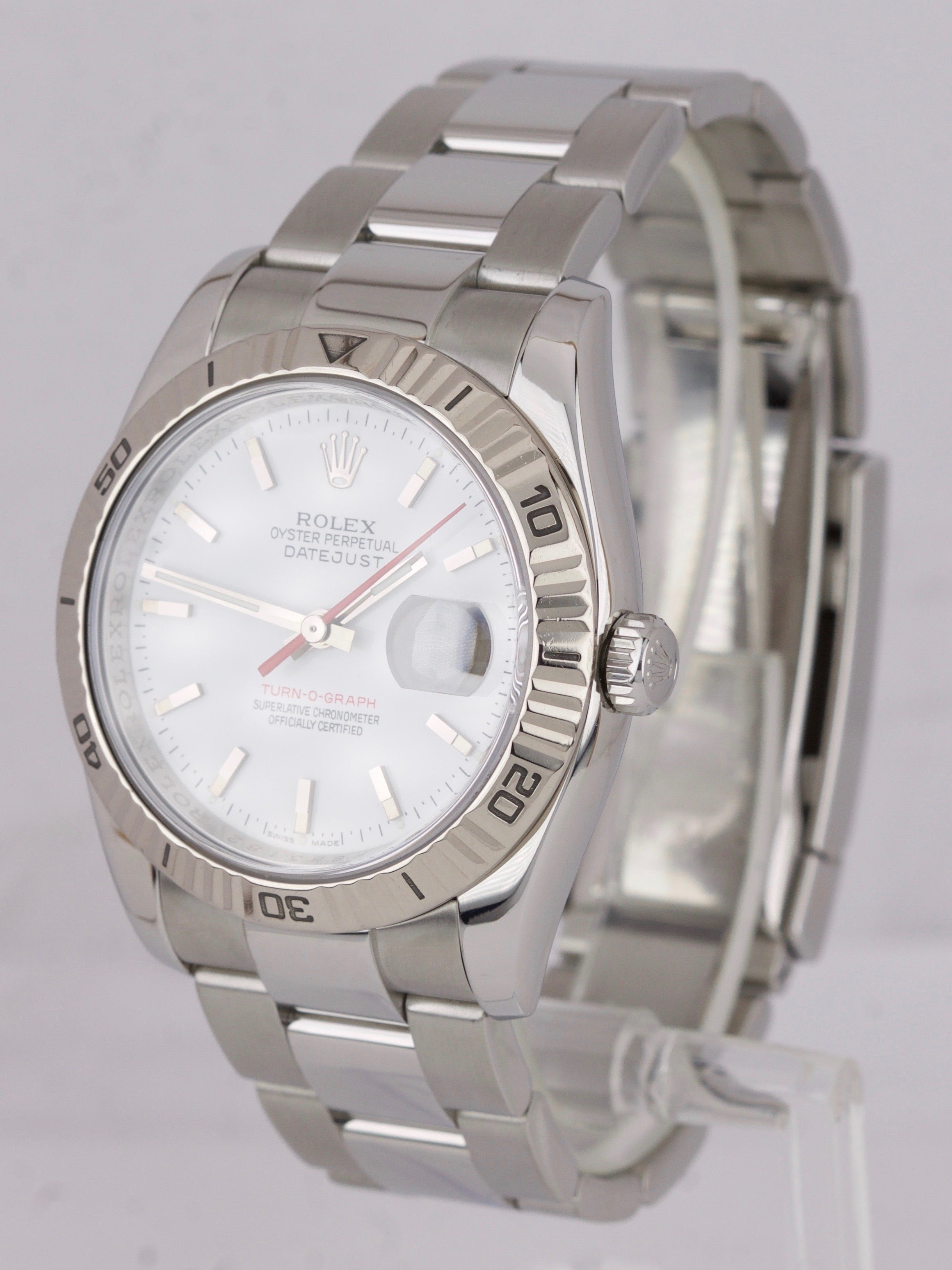 2006 MINT Rolex DateJust 116264 Turn-O-Graph 36mm Thunderbird White Oyster Watch