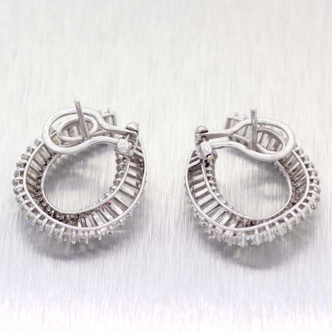 Antique Vintage Estate Platinum 7ctw Baguette Cut Hoop Earrings C9