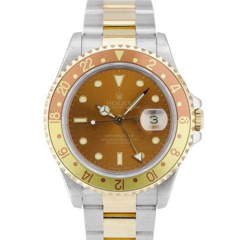 1991 Rolex GMT-Master II Brown Root Beer GREEN STICKER Two-Tone Gold 16713 Watch