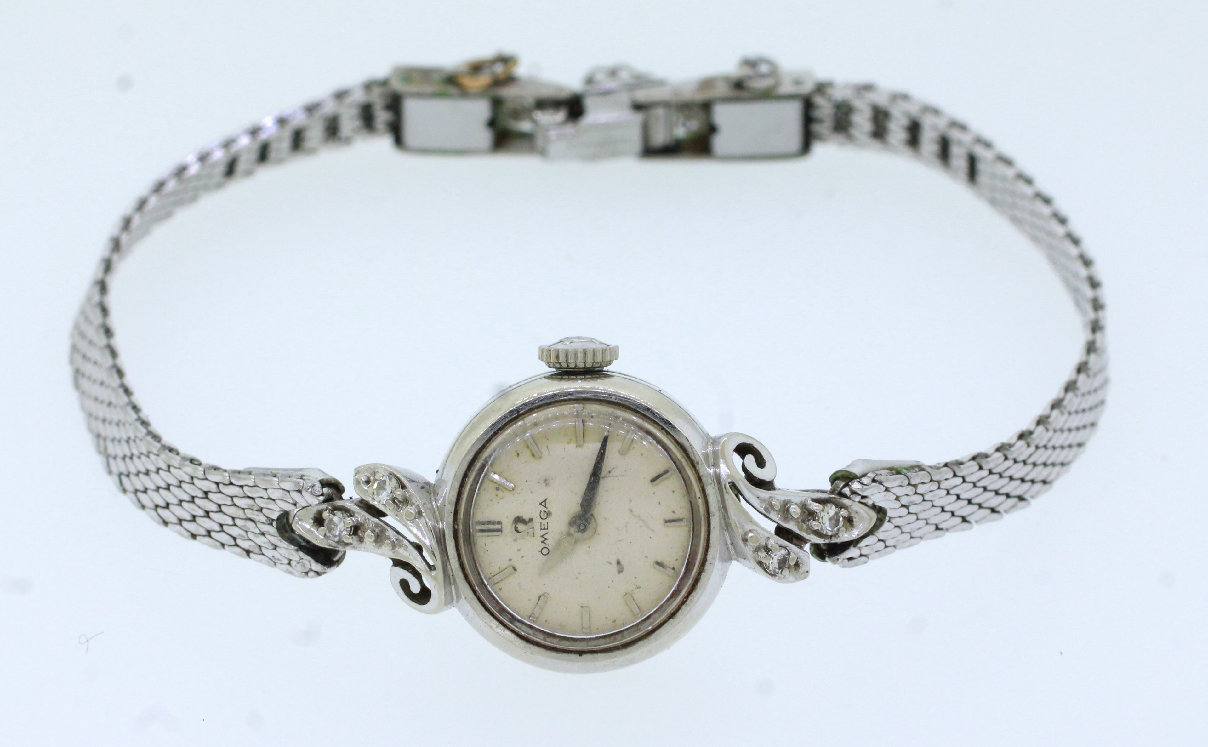 Antique Art Deco 14k Solid White Gold 0.08ctw~ Diamond Omega Watch Bracelet