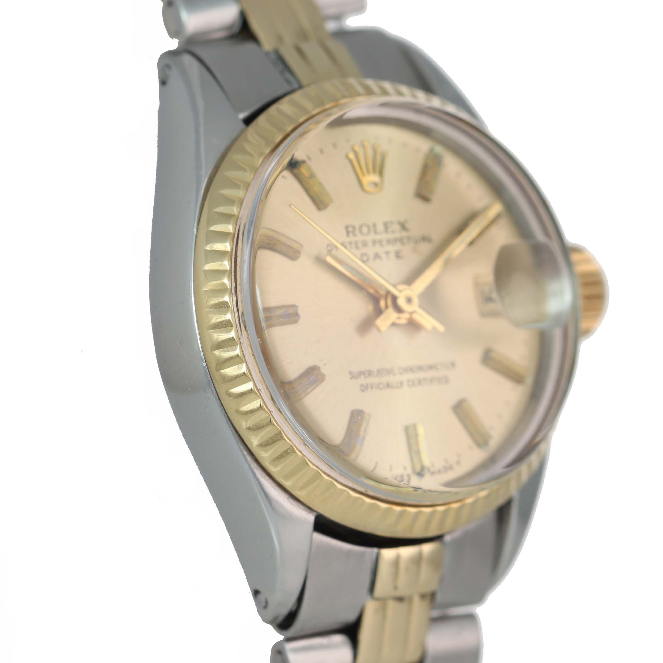 2019 SERVICE Ladies Rolex Date 6516 Two Tone 14k Gold Steel Champagne Watch Box