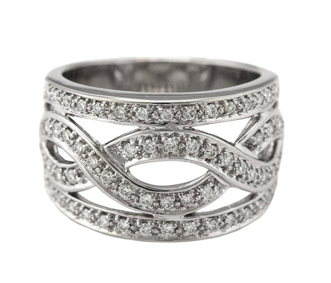 Ladies Modern 14K White Gold 0.62ctw Diamond Twist Infinity Wide Band Ring