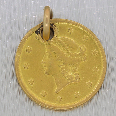 1851 Antique Victorian 22k Yellow Gold $1 Liberty Head Gold Coin Charm Pendant N8