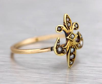 Lovely Ladies Estate 14K Yellow Gold Fleur De Lis Seed Pearl Conversion Ring