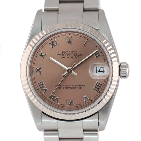 MINT Rolex DateJust 68274 31mm Pink Roman Gold Fluted Bezel Midsize Watch Box