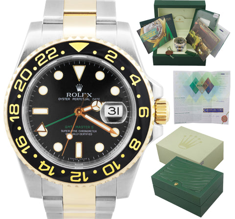 MINT Rolex GMT-Master II Ceramic 116713 Black Two-Tone Stainless Date 40mm Watch