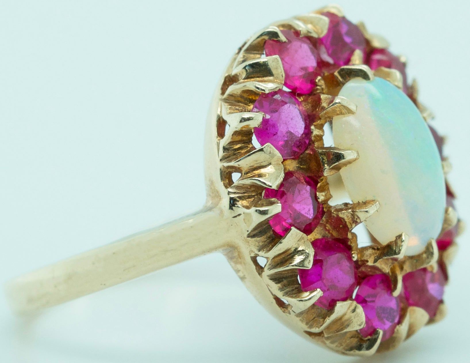 Ladies Antique Estate 10K Yellow Gold 1.18ctw Opal Ruby Cluster Cocktail Ring