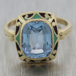 1930's Antique Art Deco 10k Yellow Gold Aquamarine Enamel Ring