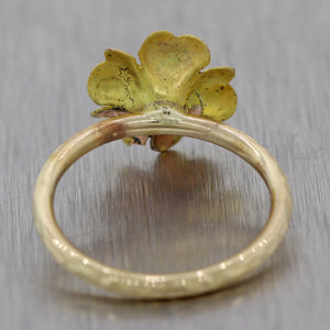 1880's Antique Victorian 14k Yellow Gold Flower Ring