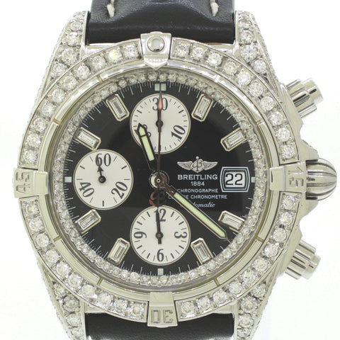 Breitling Evolution Chronometer 8.50ctw~ Diamond A13356 44mm Steel Watch B&P