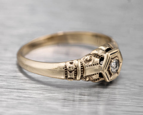 Ladies Antique Victorian 14K Yellow Gold 0.10ct Diamond Filigree Engagement Ring