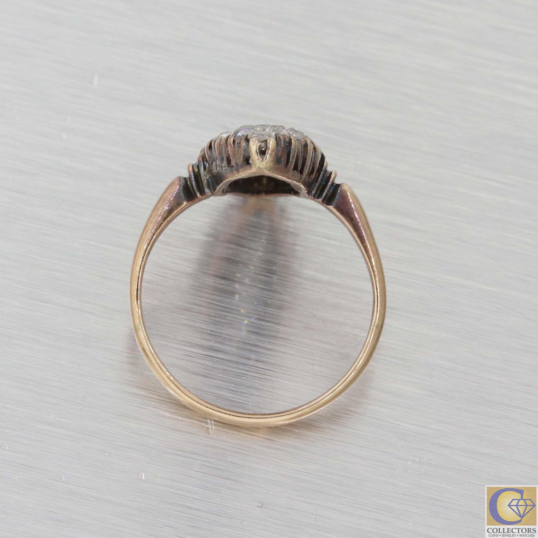 1880 Antique Victorian Solid 14k Yellow Gold 1.50ctw Diamond Navette Ring A8