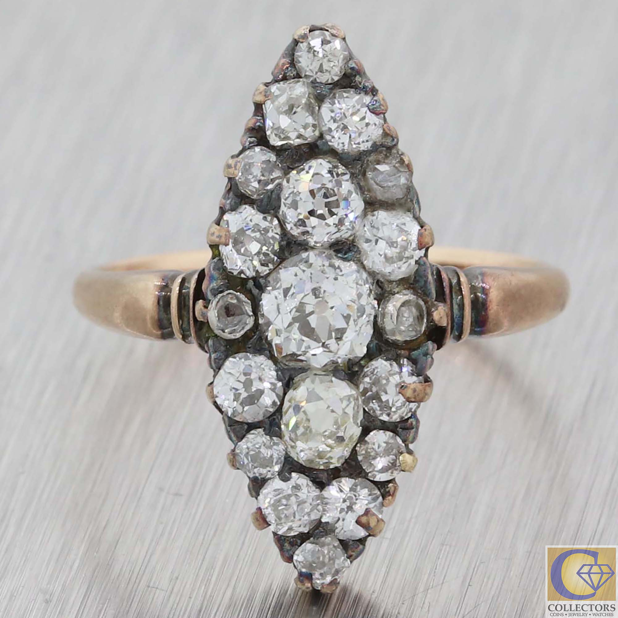 1880 Antique Victorian Estate Solid 14k Yellow Gold 1.50ctw Diamond Navette Ring