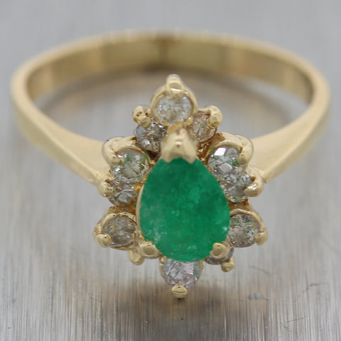 Vintage Estate 14k Yellow Gold 1.15ctw Emerald & Diamond Ring