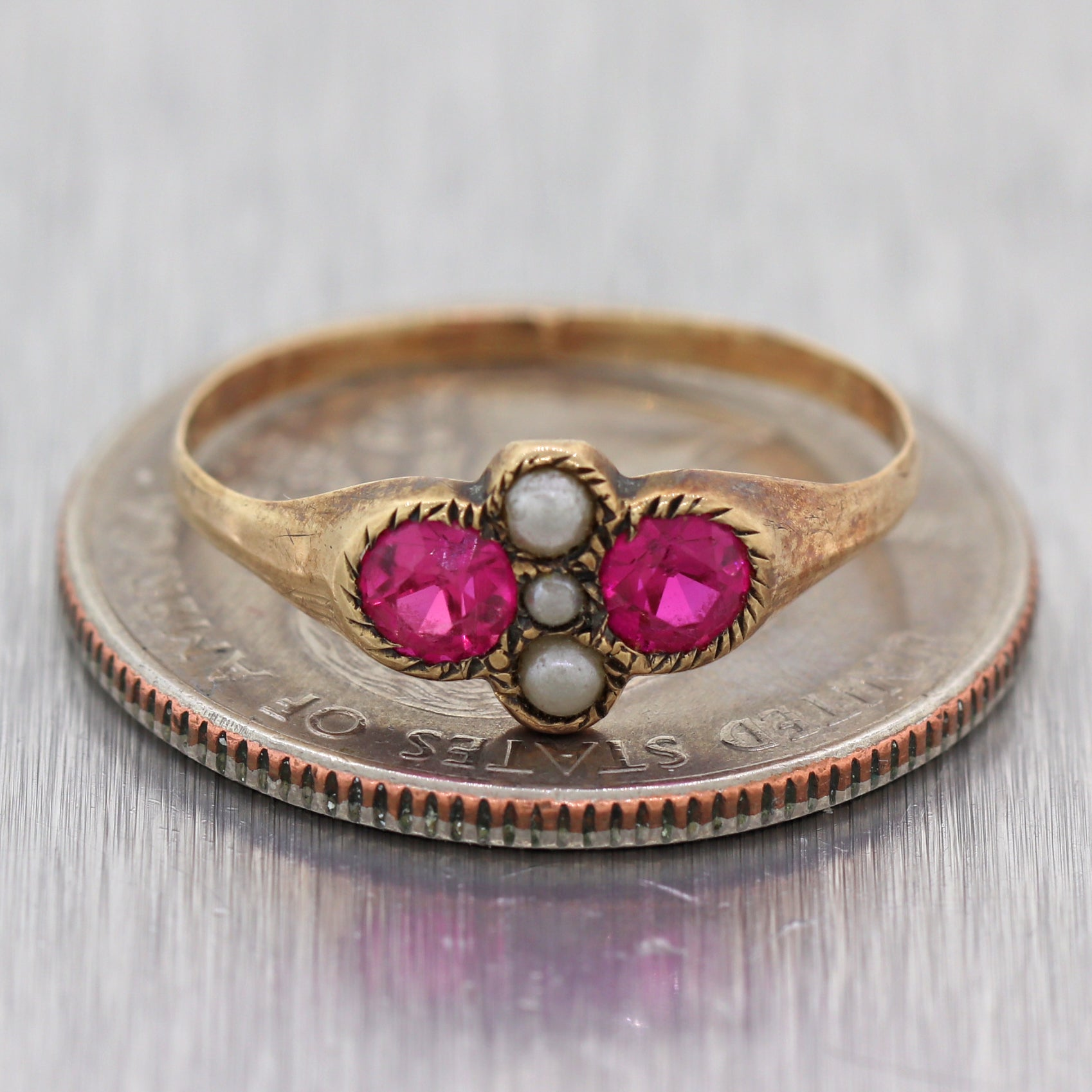 1880's Antique Victorian 14k Yellow Gold Synthetic Pink Ruby Ring